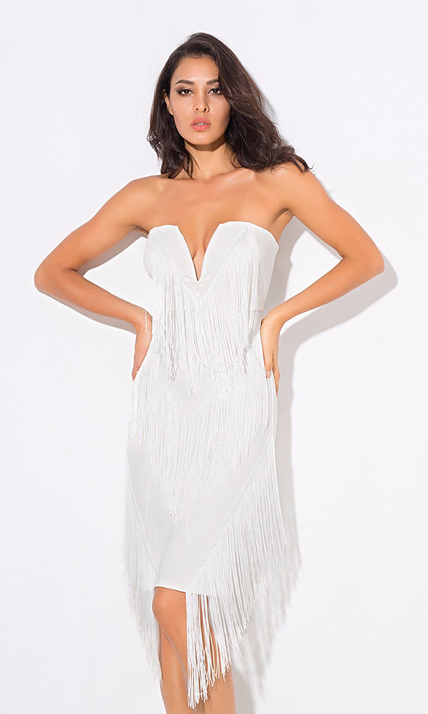 Dream Together White Strapless V Neck Fringe Bodycon Mini Dress