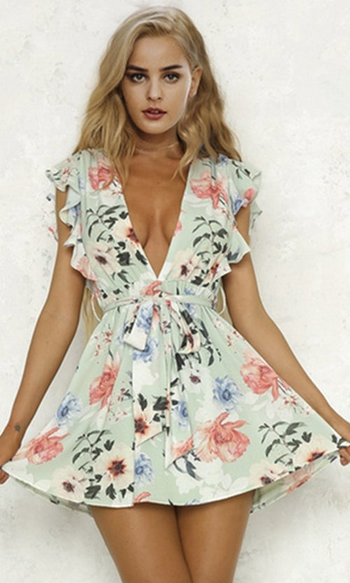 Rose Bouquet Floral Pattern Ruffle Sleeve Plunge V Neck Tie Waist Casual Mini Dress - 2 Colors Available