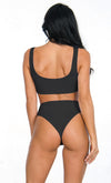Hot Tub Hottie Black Sleeveless Zipper High Waist Brazilian Two Piece Bikini Swimsuit - 3 Colors Available
