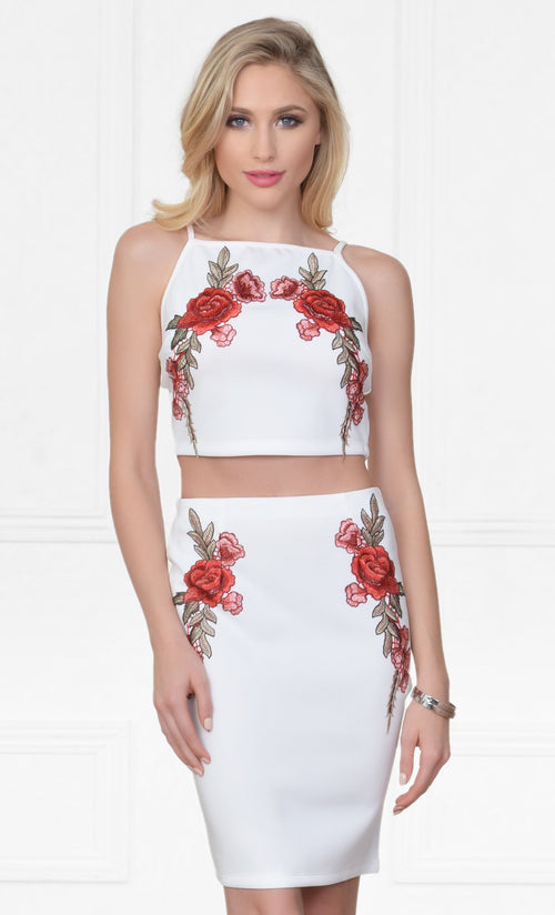 Indie XO Floral Frenzy White Red Rose Floral High Waist Bodycon Midi Skirt Halter Crop Top Two Piece Set