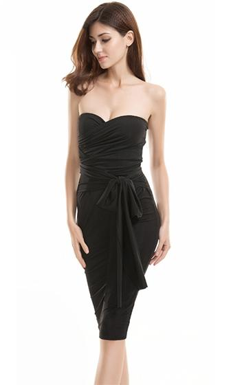 No Boundaries Black Strapless Cross Wrap Tie Waist Bodycon Midi Dress