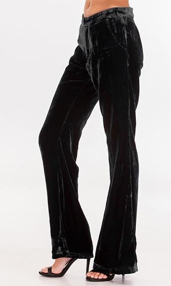 Ready To Flair Black Velvet Flare Leg Trouser Pants