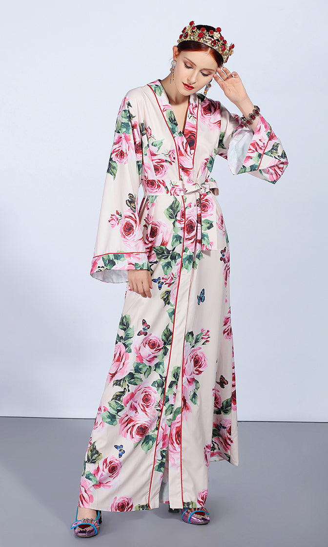 Rose Tinted Glasses Floral Pattern Long Bell Sleeve Cross Wrap V Neck Tie Waist Split Front Casual Maxi Dress
