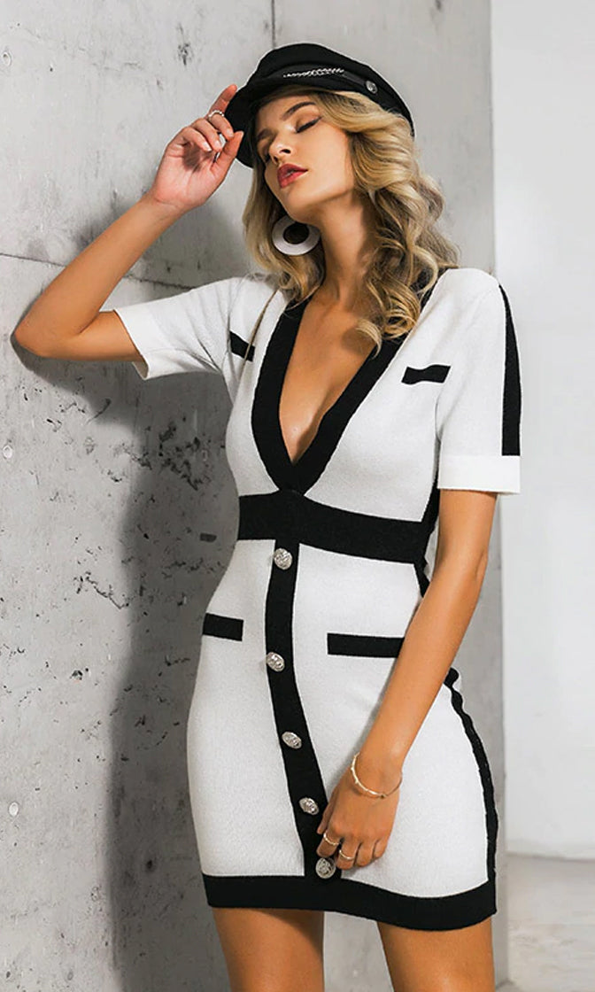 Winning Formula White Black Short Sleeve V Neck Button Knit Bodycon Sweater Mini Dress