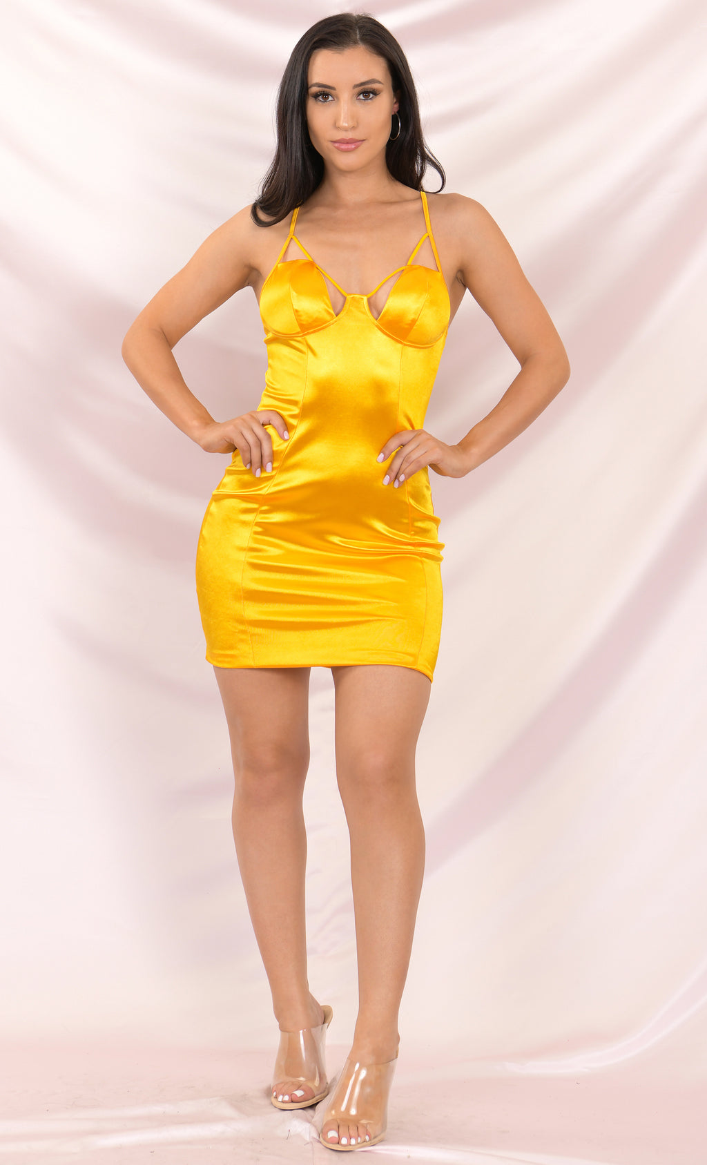 Eyes On You Yellow Satin Sleeveless Spaghetti Strap Cut Out V Neck Bodycon Mini Dress - 2 Colors Available