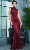 Far From Over Burgundy Sequin Long Sleeve One Shoulder Cut Out Backless Fit And Flare Maxi Dress