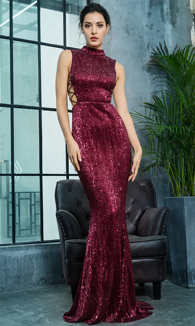 All About Glamour Wine Red Burgundy Sleeveless Mock Neck Cut Out Lace Up Sides Mermaid Maxi Dress