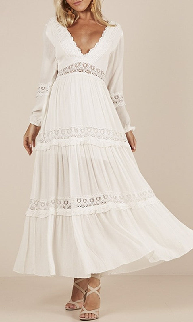 Instant Karma White Long Sleeve V Neck Lace Trim A Line Casual Maxi Dress