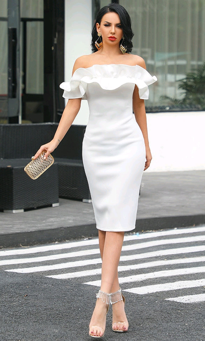 On The Brink White Short Sleeve Ruffle Off The Shoulder Bodycon Midi Dress