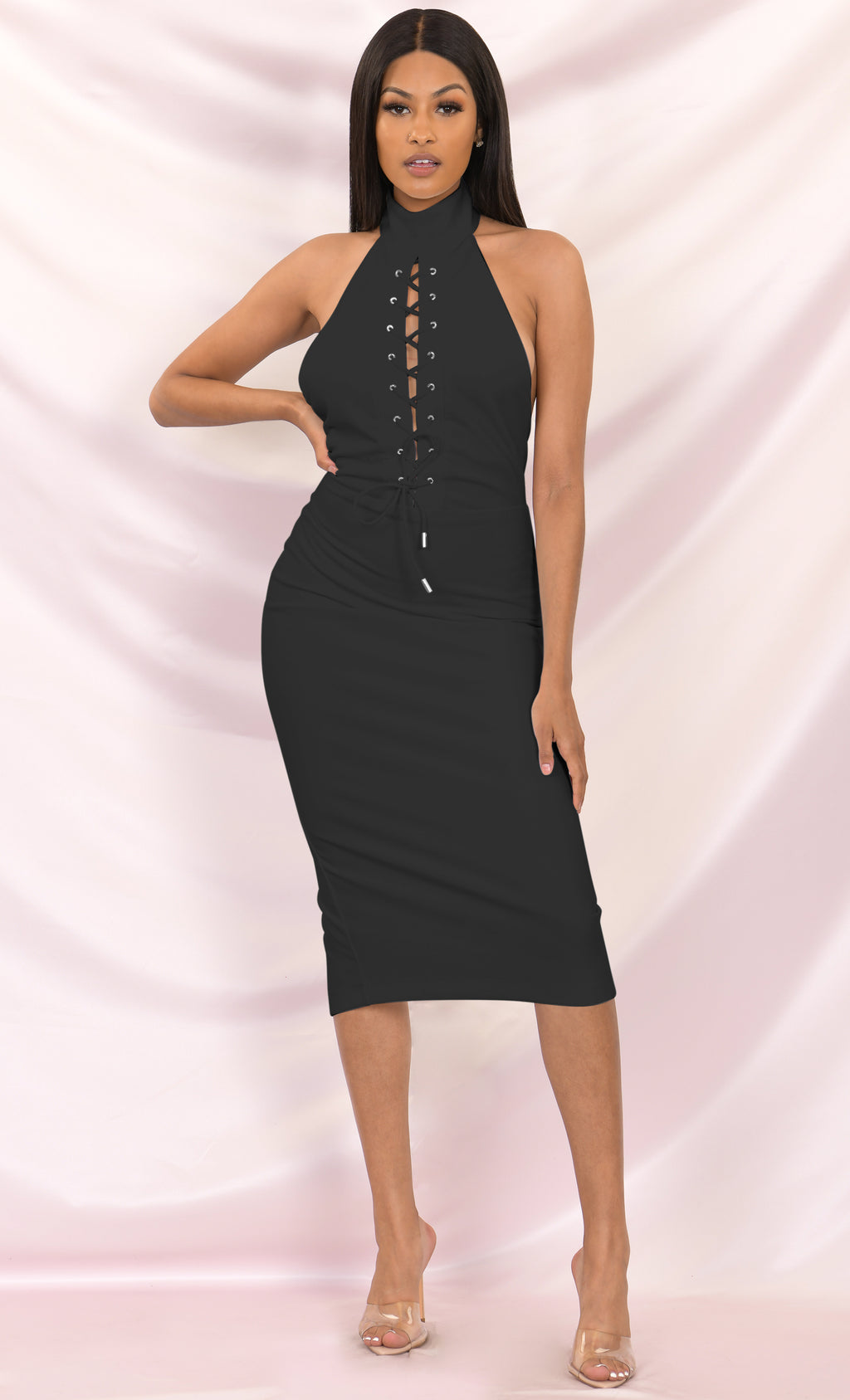 Tied To You Black Sleeveless Mock Neck Halter Cut Out Lace Up Bodycon Midi Dress