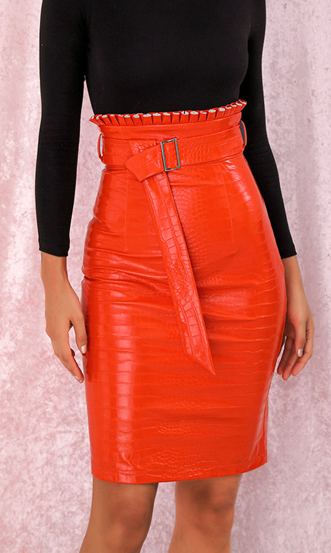 One More Chance Red Croco PU Faux Leather High Waist Ruffle Belt Bodycon Mini Skirt