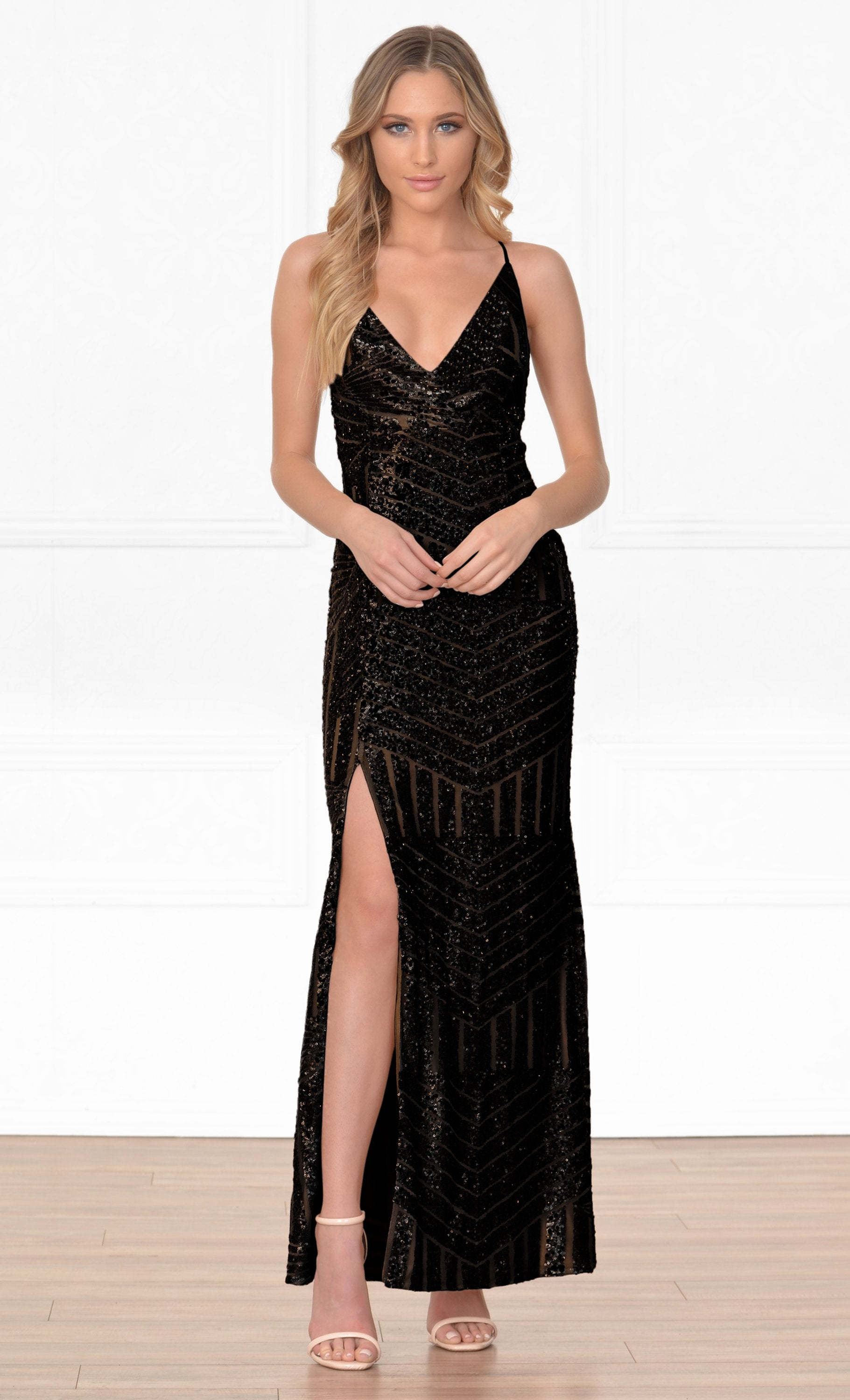 Indie XO My Moment To Shine Black Geometric Sequin Sleeveless Spaghetti Strap Cross Wrap V Neck Thigh Slit Maxi Dress