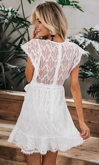 Make Me Happy White Lace Cap Sleeve Round Neck Ruffle Tie Waist Wrap Flare A Line Casual Mini Dress - Sold Out - Sold Out