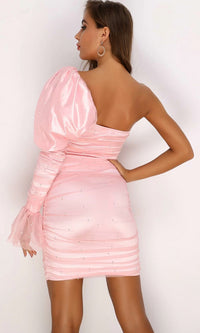 Sweet Emotions Pink Ruched Puff Shoulder Beaded Pearl One Flare Long Sleeve Mesh Bodycon Mini Dress - 3 Colors Available