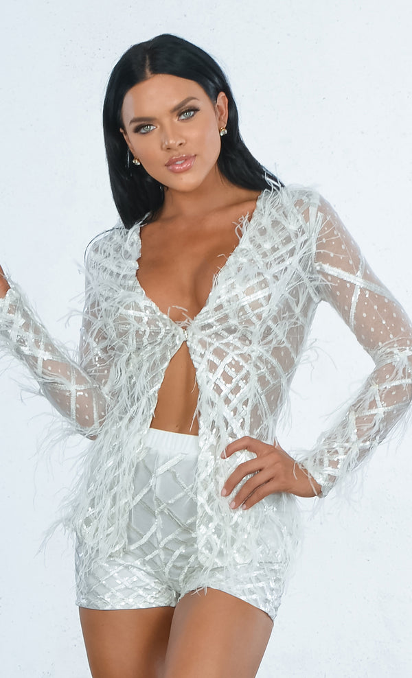 60161c669fb Indie XO Feather Fantasy White Sheer Mesh Geometric Pattern Long Sleeve  Sequin Feathers Romper Shorts Two