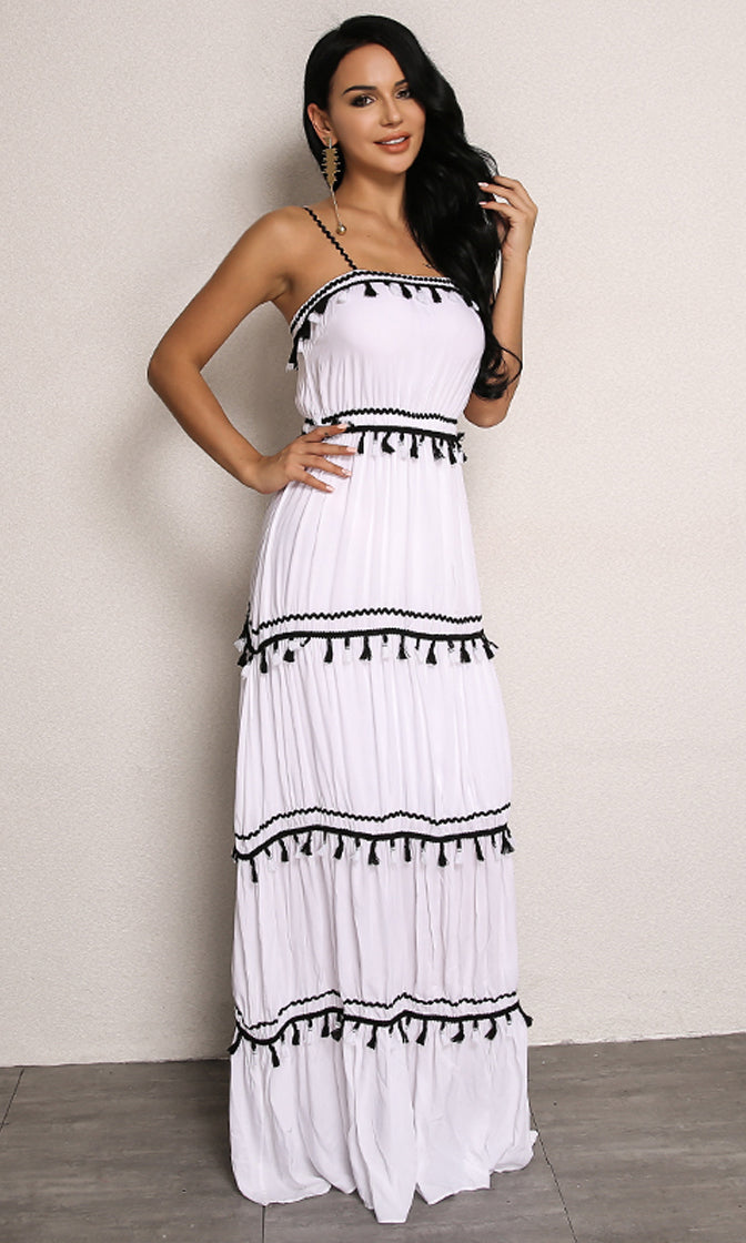 Too Early White Sleeveless Spaghetti Strap Square Neck Pleated Fringe Tassel Casual Maxi Dress