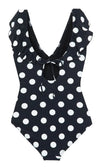 Blast From The Past Black White Polka Dot Pattern Sleeveless Cross Wrap V Neck Ruffle One Piece Swimsuit