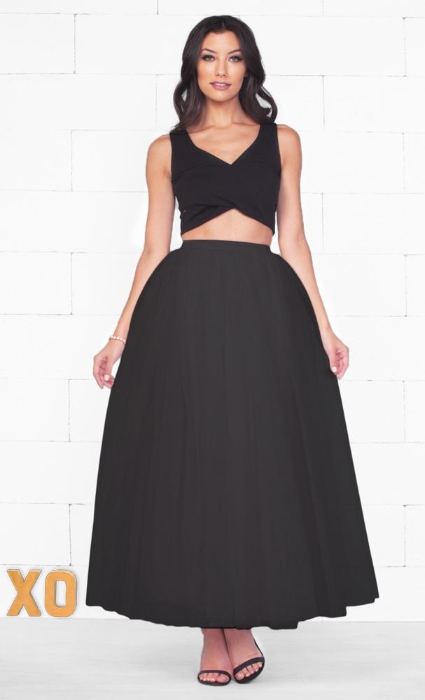Do A Twirl 7 Layer Black Pleated Elastic Waist Swiss Tulle Ball Gown Maxi Skirt