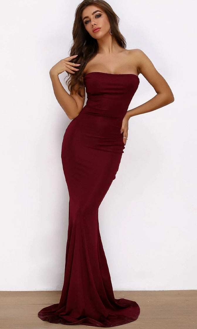 Evening In Roma Burgundy Wine Red Stretch Strapless Bodycon Mermaid Gold Grommet Lace Up Back Maxi Dress