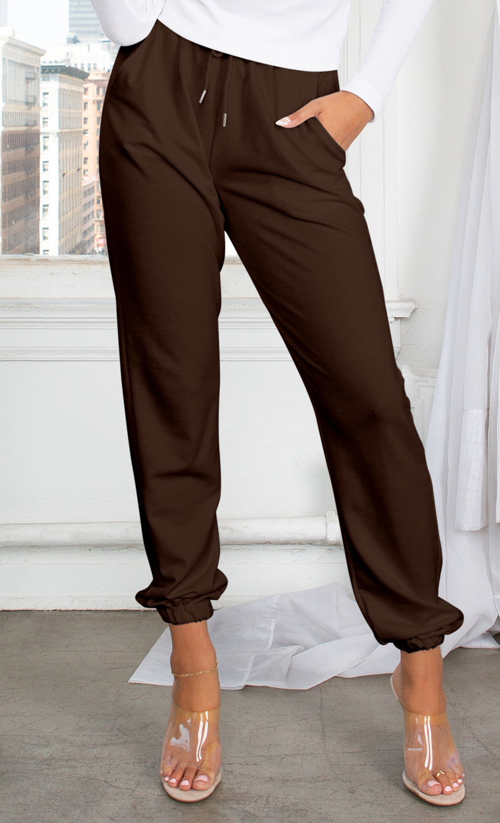 No Need To Panic Dark Brown Slim Elastic Waist Drawstring Jogger Pockets Sweat Pants