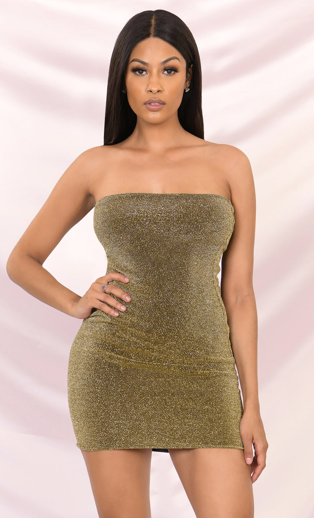 Made You Stare Lurex Glitter Tube Stretchy Strapless Mini Bodycon Dress