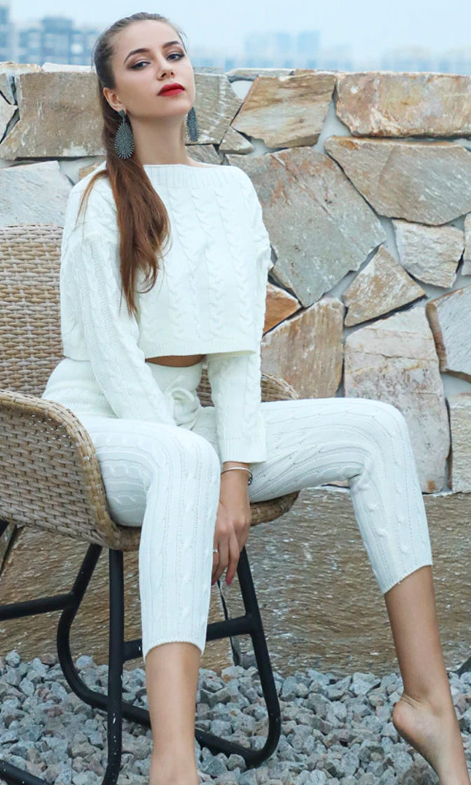 All Warmed Up Off White Lounge Long Sleeve Cable Boat Neck Crop Pullover Sweater Drawstring Legging Two Piece Jumpsuit - 3 Colors Available