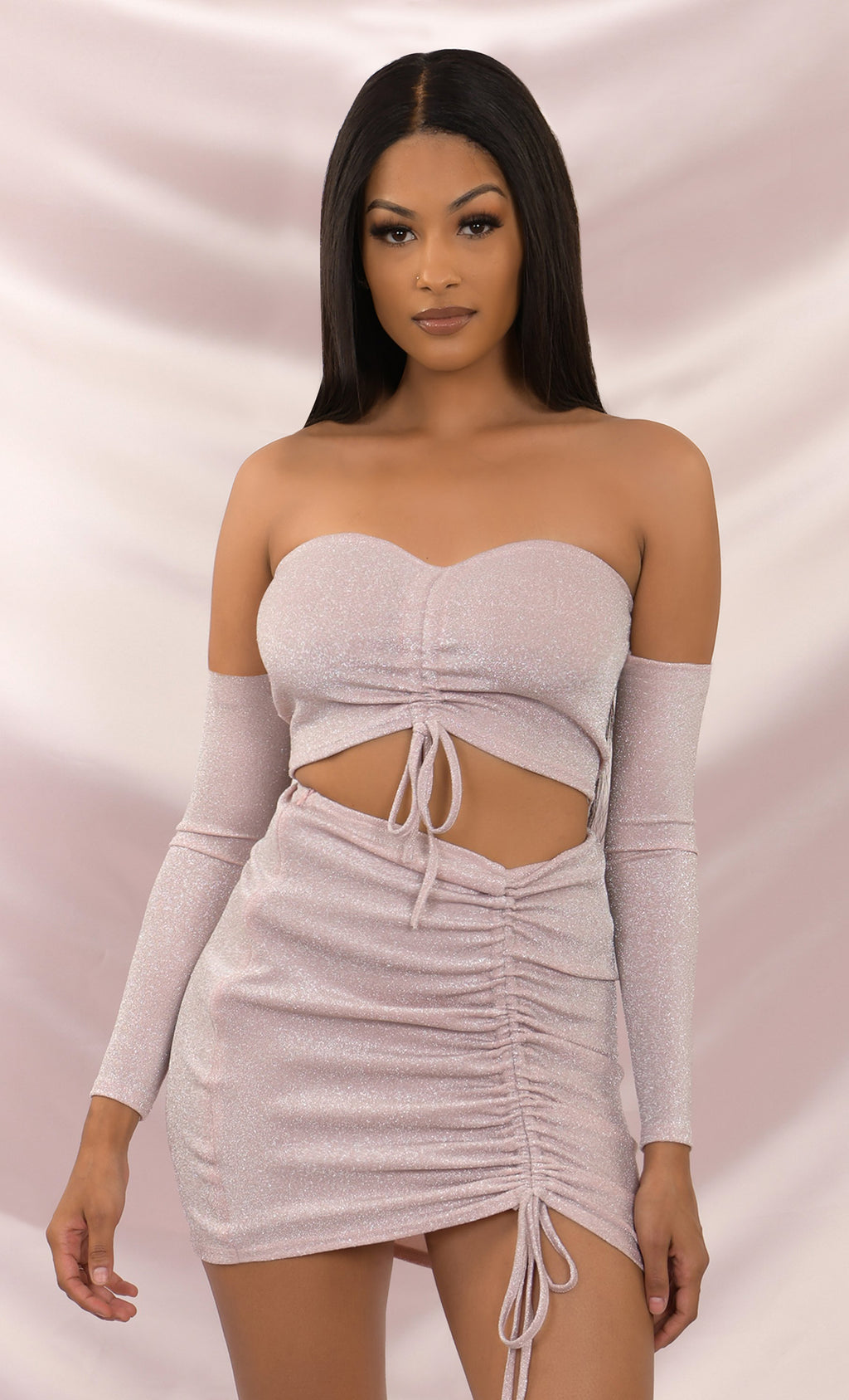 Dance With Me Beige Off the Shoulder Lurex Glitter Ruched Tie Front Strapless Crop Top Mini Dress Set