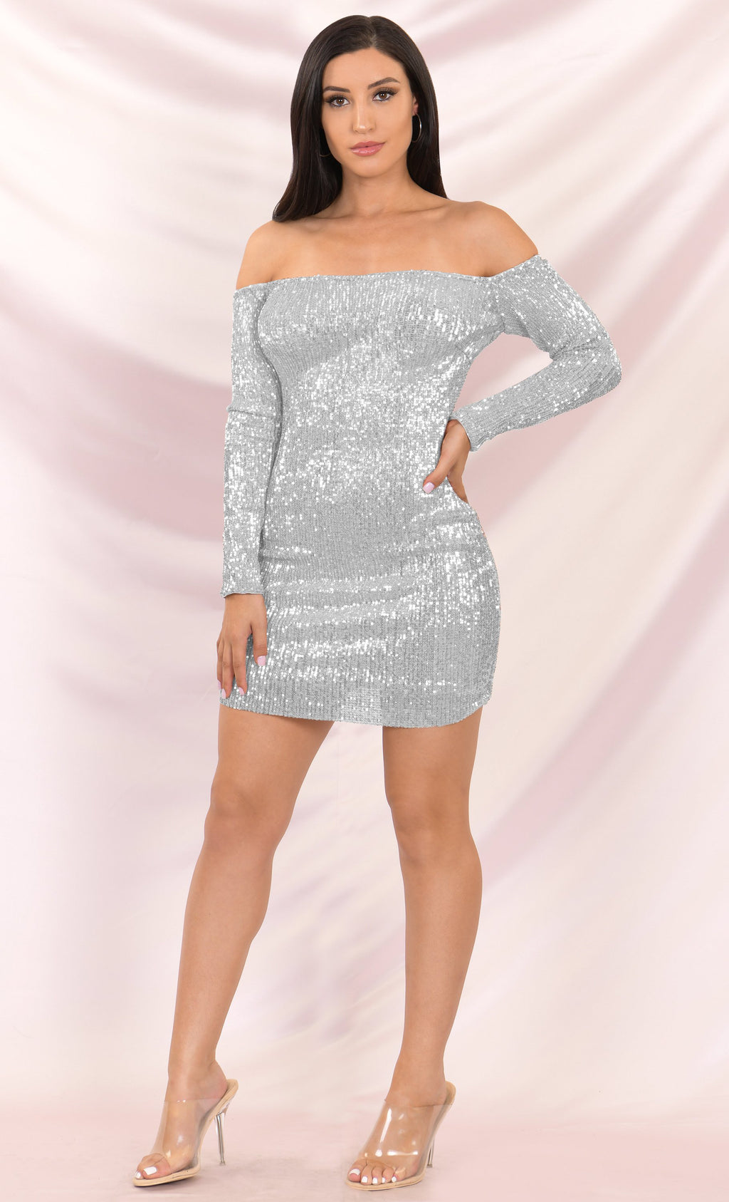 I've Got Stamina Silver Sequin Long Sleeve Off The Shoulder Bodycon Mini Dress
