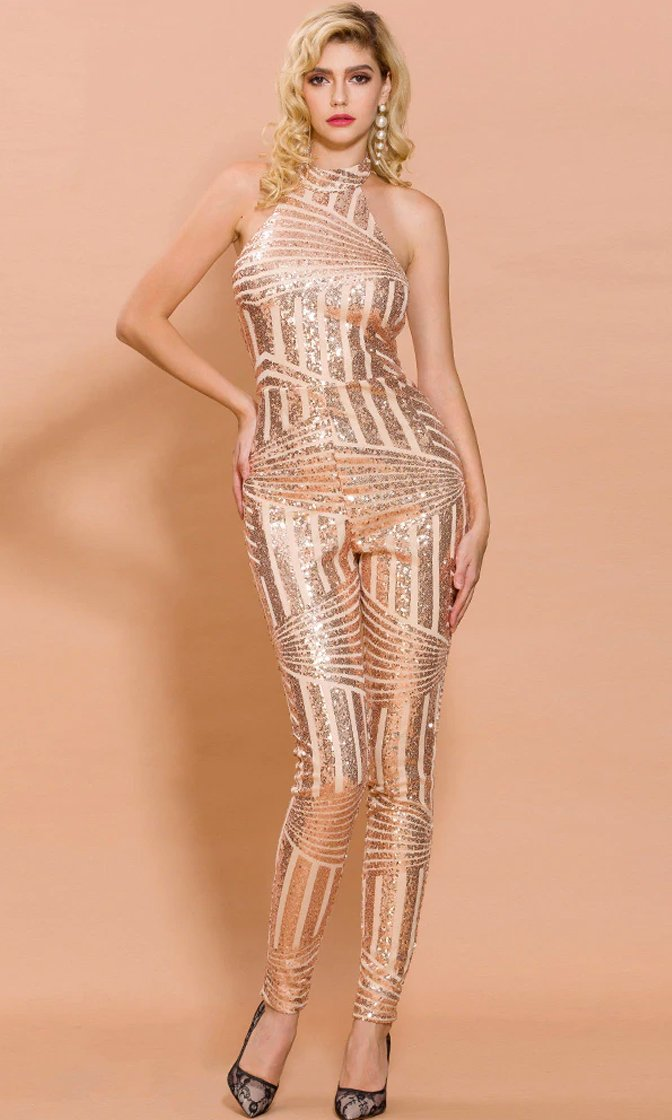 What Lovers Do Geometric Sequin Sleeveless Mock Neck Cut Out Back Jumpsuit Pattern