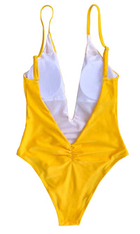Lifeguard Distraction Yellow Spaghetti Strap Plunge V Neck Backless Brazilian One Piece Monokini Swimsuit