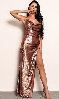 Top Of The List Brown Copper Sequin Sleeveless Spaghetti Strap Drape V Neck Backless High Slit Maxi Dress - Sold Out