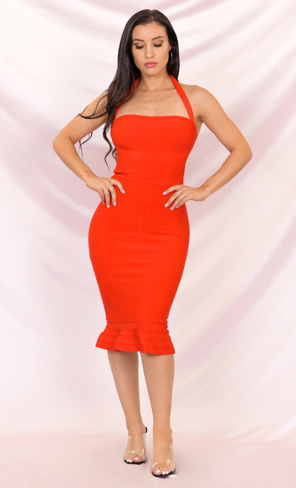 Lasting Beauty Red Halter Sleeveless Square Neck Bodycon Bandage Fishtail Ruffle Hem Midi Dress
