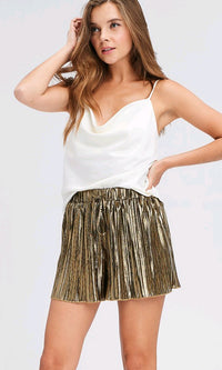 Strut Your Stuff Gold Metallic Pleated Elastic Waist Drawstring Shorts - Sold Out