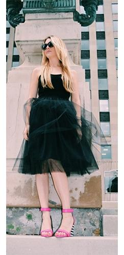 Center Stage 8 Layer Black Tulle Chiffon Elastic Waist Pleated Circle A Line Flare Midi Skirt