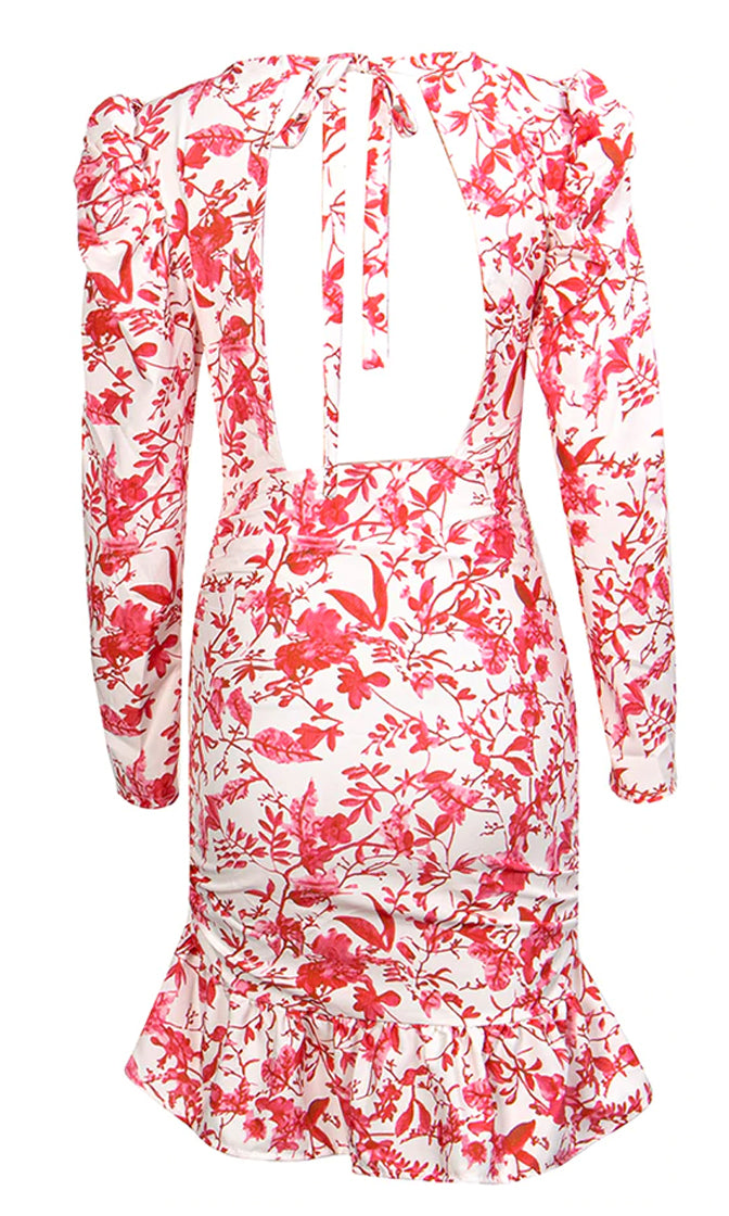 Hopelessly In Love Red White Floral Pattern Long Sleeve Puff Shoulder Round Neck Cut Out Back Ruffle Bodycon Mini Dress