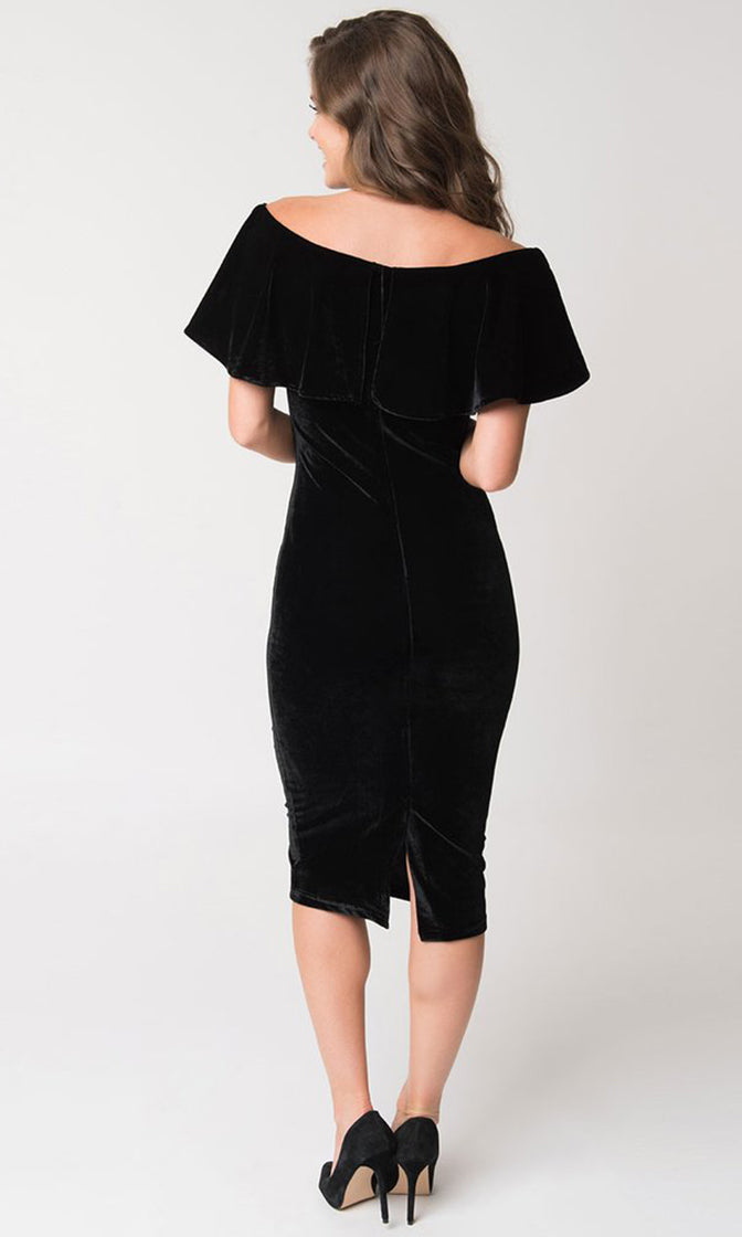 Don't Cry For Me Black Velvet Short Sleeve Off The Shoulder V Neck Ruffle Bodycon Midi Dress