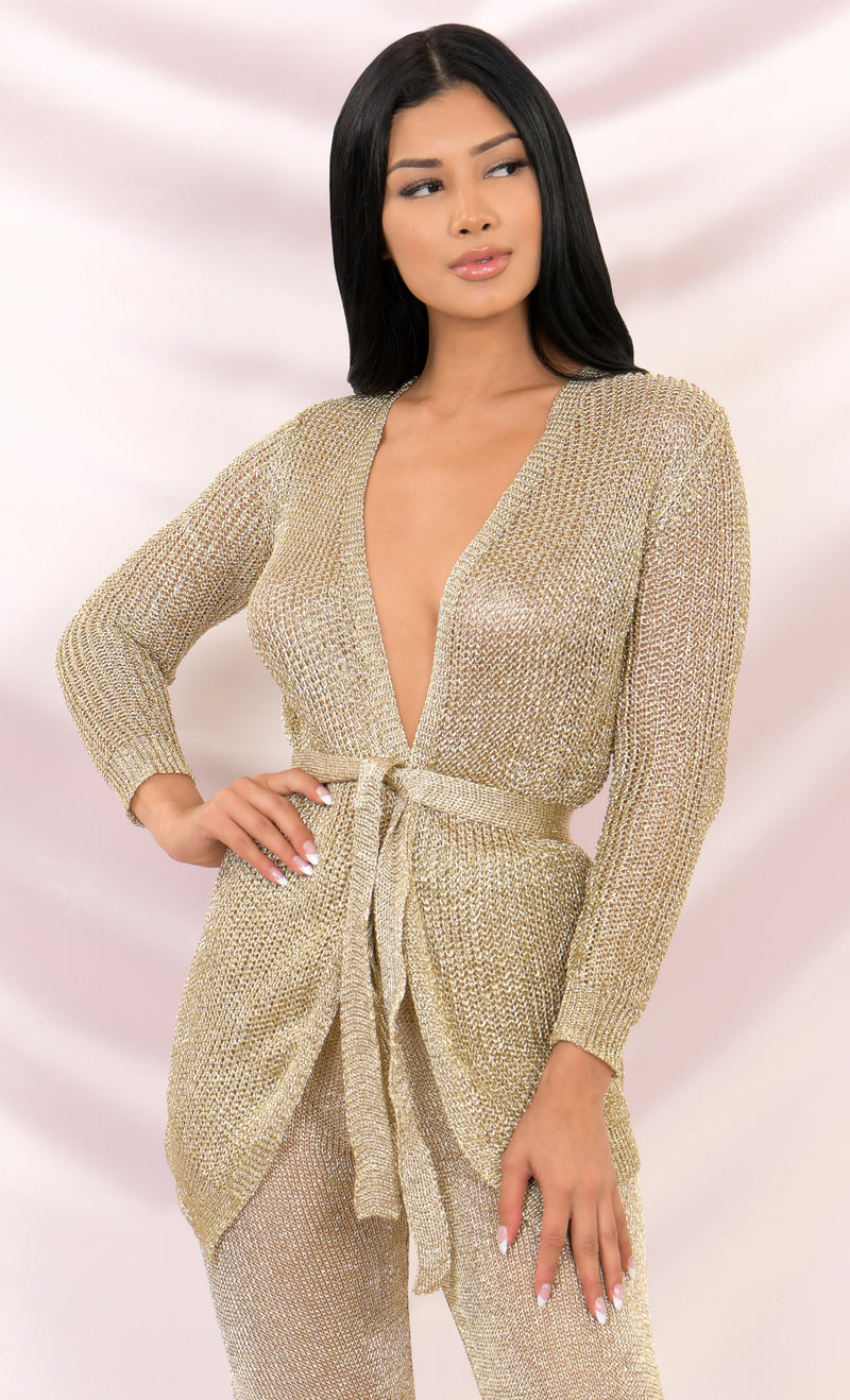 Never Be The Same Yellow Gold Metallic Long Sleeve Plunge V Neck Metallic Mesh Open Front Belted Cardigan Sweater Outerwear Jacket