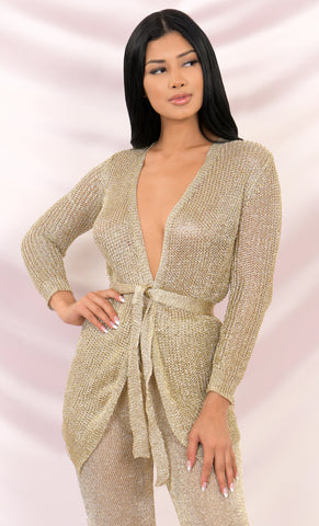 Sultry Shine Silver Metallic Knit Mesh Long Sleeve Cross Wrap Plunge V Neck Wrap Belt Sweater Cardigan Mini Dress - 3 Colors Available