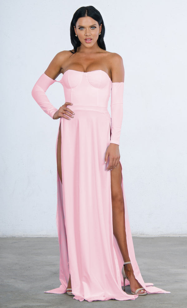 b4903dcbc8f Indie XO You re An Angel Double Slit Off the Shoulder Bustier Long Sleeve  Maxi