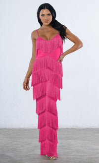Indie XO Not Holding Back Pink Spaghetti Strap Fringe Mesh Tiered Jumpsuit - 2 Colors Available - Sold Out