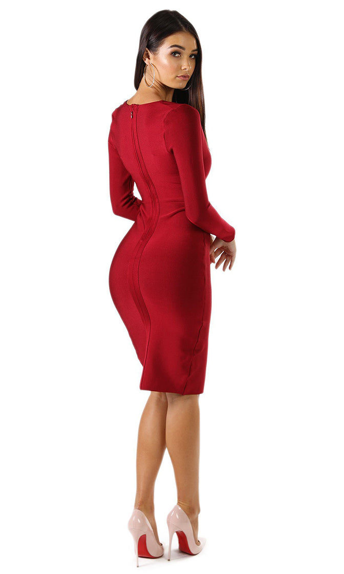 Top This Wine Red Long Sleeve Plunge V Neck Bandage Bodycon Front Slit Midi Dress