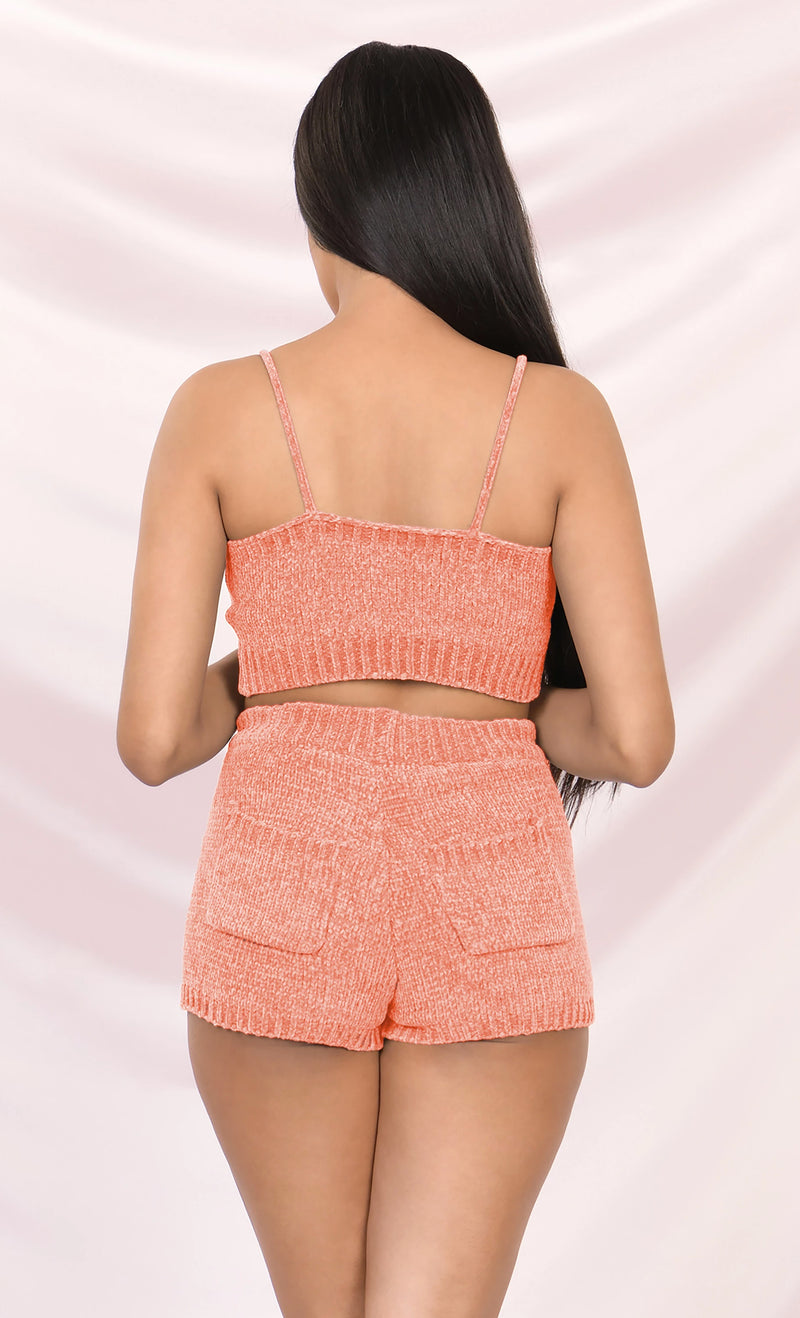 Close To You Pink Sleeveless Spaghetti Strap Scoop Neck Sweater Chenille Lounge Crop Two Piece Romper Playsuit