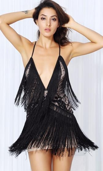 Let's Dance Black Lace Fringe Sleeveless Spaghetti Strap Plunge V Neck Bodycon Mini Dress