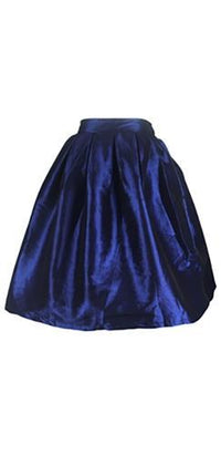 Navy Blue Pearlescent Bell Flare A Line Pleated Skater Midi Skirt - Sold Out