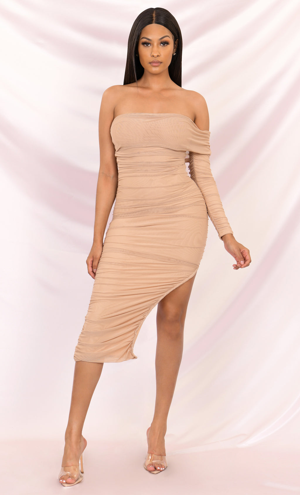 Full Of Fortune Light Brown Sheer Mesh Ruched Off The Shoulder One Long Sleeve Side Slit Bodycon Maxi Dress - 4 Colors Available