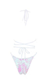All Time Glow White Sequin Spaghetti Strap Halter Cut Out Backless Brazilian One Piece Monokini Swimsuit - Sold Out