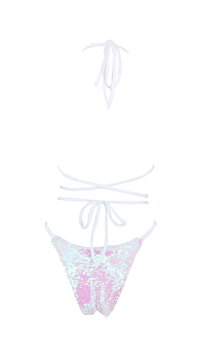 All Time Glow White Sequin Spaghetti Strap Halter Cut Out Backless Brazilian One Piece Monokini Swimsuit