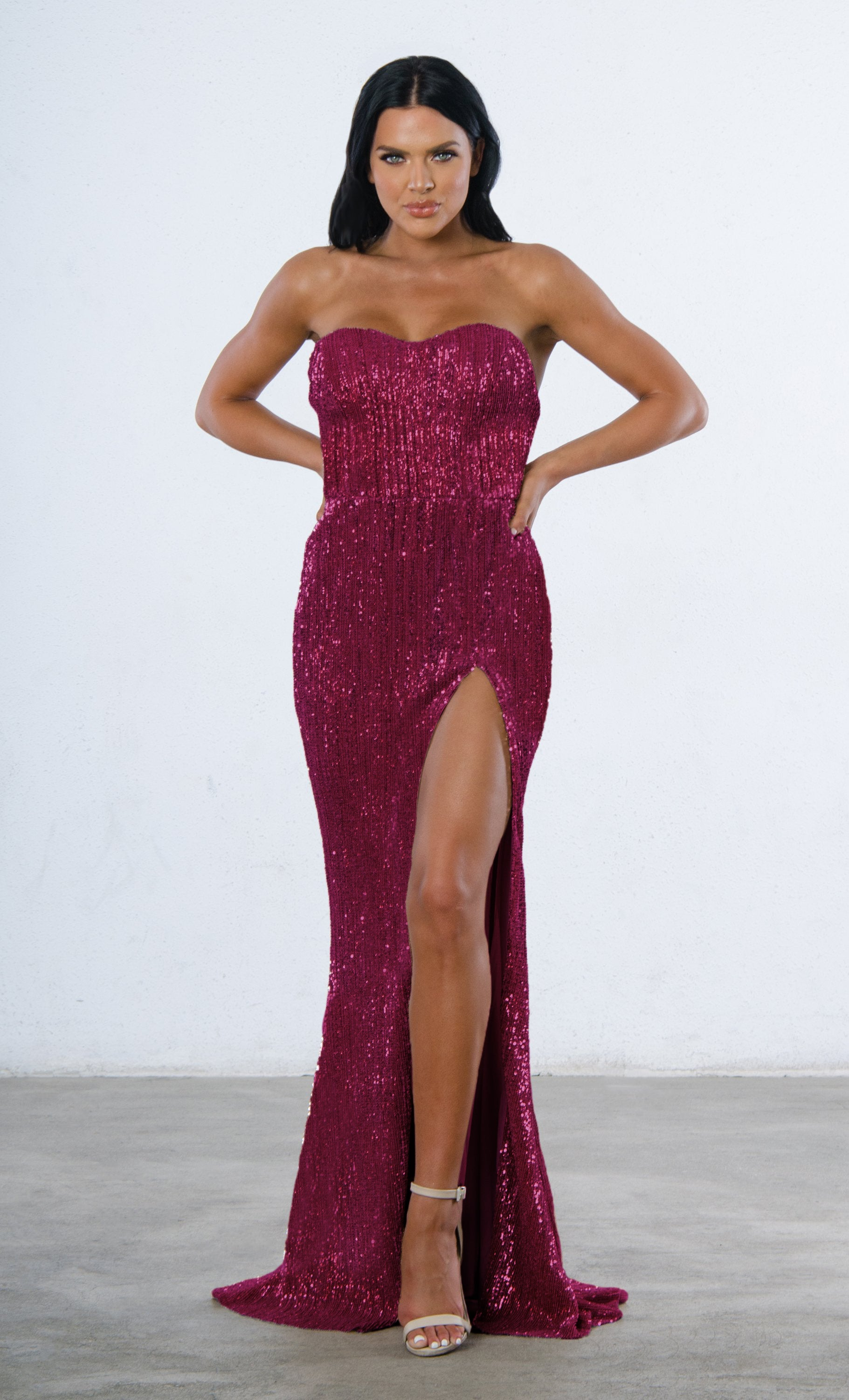 a2dc41695dd Indie XO Show Me Some Love Burgundy Wine Red Sequin Strapless Sweetheart  Neck High Slit Fishtail