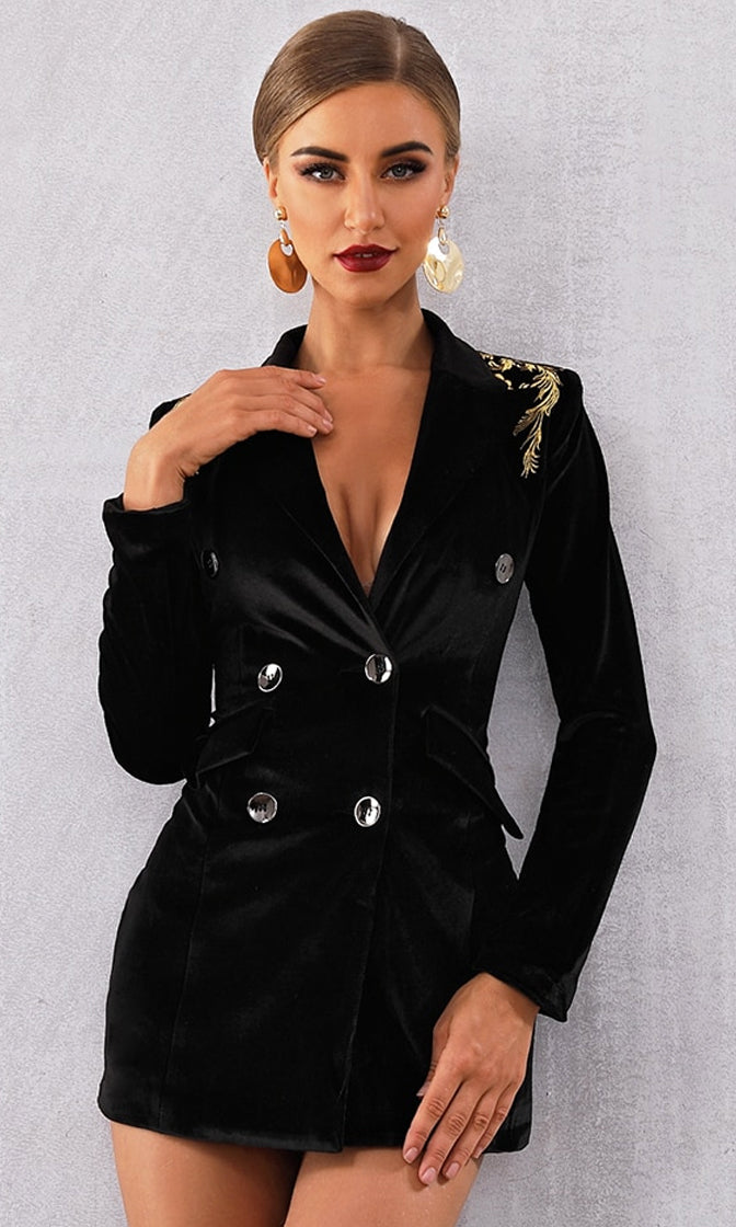 Dare To Be Different Black Gold Stretch Velvet Long Sleeve Two Pocket Double Breasted V Neck Bodycon Blazer Mini Dress