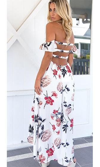Independent Spirit White Red Black Floral Short Sleeve Off The Shoulder Split Wrap Casual Maxi Dress